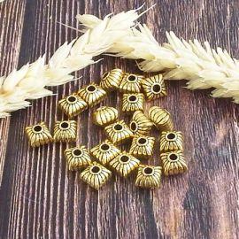 20 perles tibetaines dore antique 7mm interieur 1mm