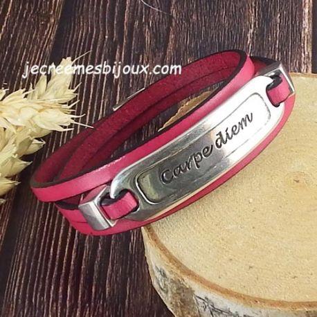 Kit bracelet cuir fuchsia carpe diem argent