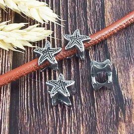 Perle passante etoile de mer acier inoxydable pour cuir rond 5mm