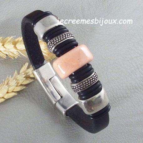 Bracelet cuir semi regaliz noir avec ceramique rose et passants argent