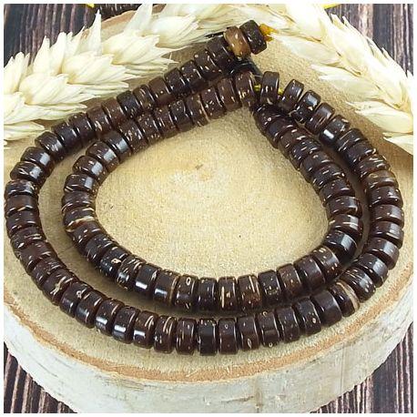 Fil de 110 perles rondelles en coco coconut brown 6mm