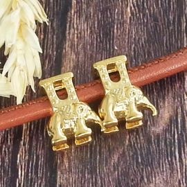 Perle carosse elephant acier inoxydable dore pour cuir rond 5mm