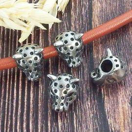 Perle leopard acier inoxydable pour cuir rond 4mm