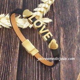 Kit bracelet cuir noir vernis avec love et coeurs flashe or avec tutoriel