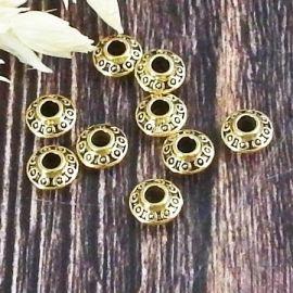 10 perles toupies ethniques style tibetain dore antique interieur 2mm