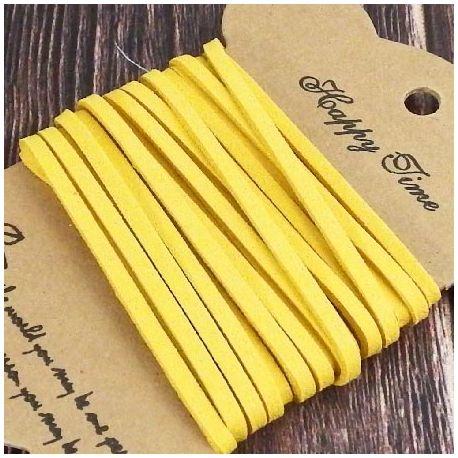 Cordon suedine jaune imperial 3mm par 3 metres.