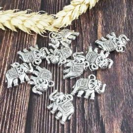 10 pendentifs elephant tibetain argentes 19mm