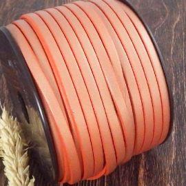 Cuir plat 5mm orange nacre