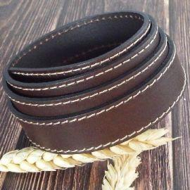 Cuir plat 20mm marron coutures haute qualite par 19cm