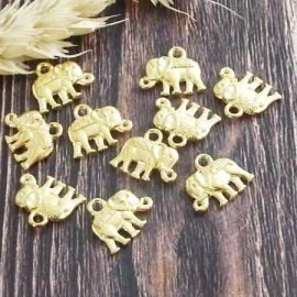 10 pendentifs elephant tibetain dores 14mm
