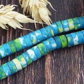135 perles rondelles de minerai naturel turquoise et vert 6x3mm
