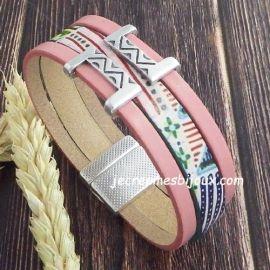 Kit tutoriel bracelet cuir pastel naif rose et vert ethnique