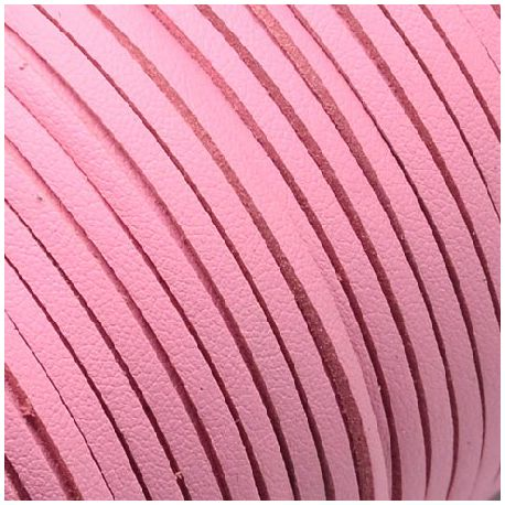 Cordon suédine effet cuir lisse rose bebe 3mm