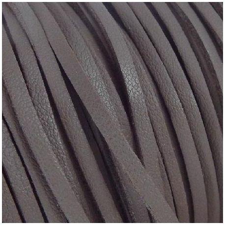 Cordon suédine effet cuir lisse marron fonce 3mm