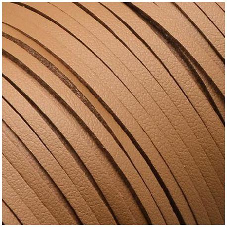 Cordon suédine effet cuir lisse camel 3mm