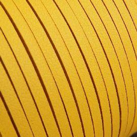 Cordon suédine effet cuir lisse jaune 3mm