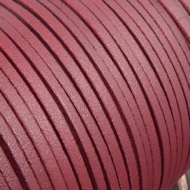 Cordon suédine effet cuir lisse bordeaux 3mm