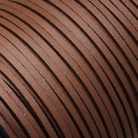 Cordon suédine effet cuir lisse marron moyen 3mm