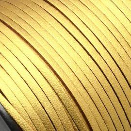 Cordon suédine effet cuir lisse dore 3mm