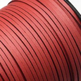 Cordon suédine effet cuir lisse rouge 3mm