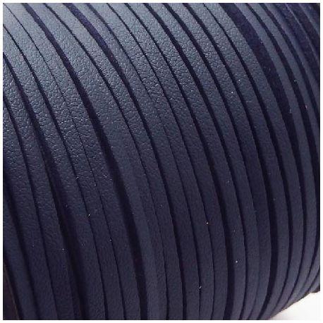 Cordon suédine effet cuir lisse bleu marine 3mm