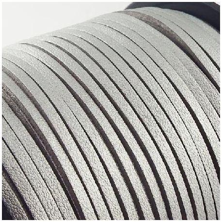 Cordon suédine effet cuir lisse argent 3mm