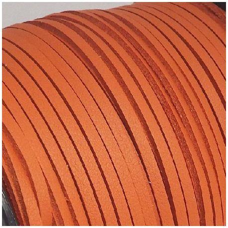 Cordon suédine effet cuir lisse orange 3mm