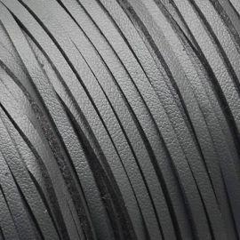 Cordon suédine effet cuir lisse gris 3mm