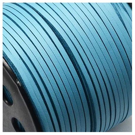 Cordon suédine effet cuir lisse turquoise 3mm
