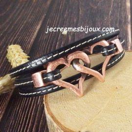 Kit tutoriel bracelet cuir noir couture 3 tours coeurs meles cuivre