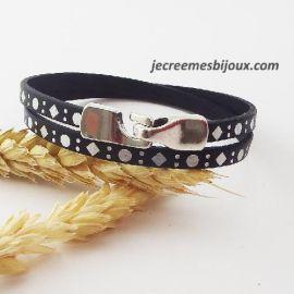 Kit bracelet cuir noir et argent fermoir crochet
