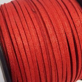 Cordon suédine effet paillettes rouge 3mm