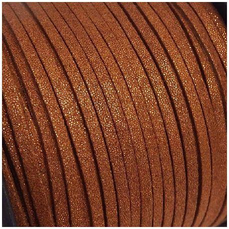Cordon suédine effet paillettes marron 3mm
