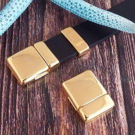 Fermoir magnetique plat RARE argent pour cuir 15mm