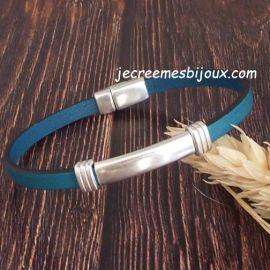 Kit bracelet cuir turquoise fin et argent