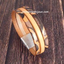 Kit tutoriel bracelet cuir orange pastel et savane argent