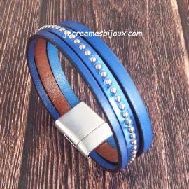 Kit tutoriel bracelet cuir bleu électrique et metal clous argent