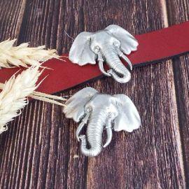 Passant tete elephant argent pour cuir plat 20mm