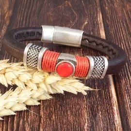 Kit bracelet cuir regaliz marron et argent