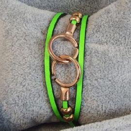 Kit bracelet en cuir fin vert fluo avec fermoir menottes or rose