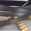 cordon cuir plat argent vieilli 10mm