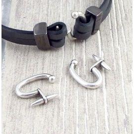 Fermoir double crochet rond plaque argent pour cuir plat 5 mm