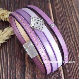 Kit bracelet cuir manchette mauve et argent top