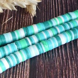 Perles Heishi 6mm melange turquoise et vert