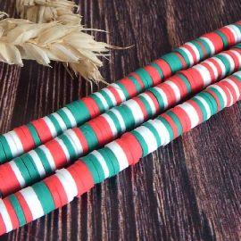 Perles Heishi 6mm melange vert et rouge