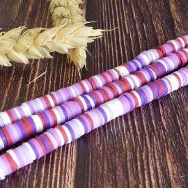 Perles Heishi 6mm melange violet et mauve