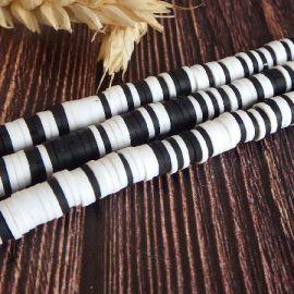 Perles Heishi 6mm melange blanc noir