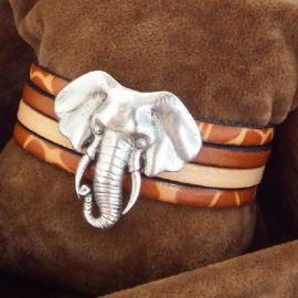 Kit bracelet cuir manchette savane elephant argent