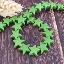 Fil de 42 ± perles étoiles de mer vertes howlite reconstituée 12m