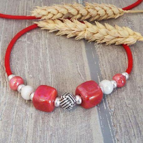 Kit collier cuir simili daim bleu vif et perles ceramique mers du sud